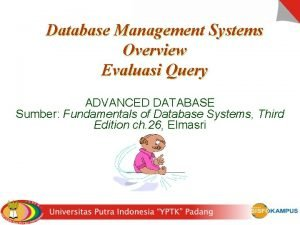 Database Management Systems Overview Evaluasi Query ADVANCED DATABASE