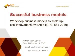 Succesful business models Workshop business models to scale