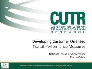 Developing Customer Oriented Transit Performance Measures National Transit