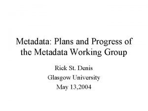 Metadata Plans and Progress of the Metadata Working