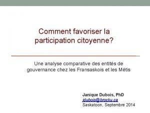 Comment favoriser la participation citoyenne Une analyse comparative