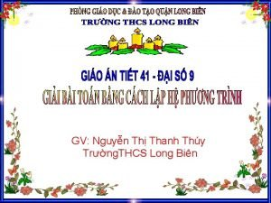 GV Nguyn Th Thanh Thy Trng THCS Long