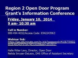 Region 2 Open Door Program Grants Information Conference