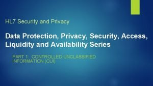HL 7 Security and Privacy Data Protection Privacy