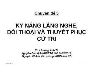 Chuyn 3 K NNG LNG NGHE I THOI