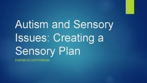 Autism and Sensory Issues Creating a Sensory Plan