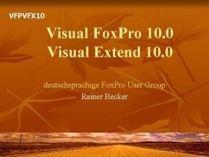 VFPVFX 10 Visual Fox Pro 10 0 Visual