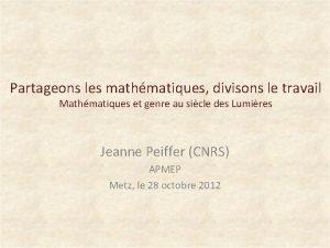 Partageons les mathmatiques divisons le travail Mathmatiques et