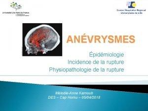 ANVRYSMES pidmiologie Incidence de la rupture Physiopathologie de