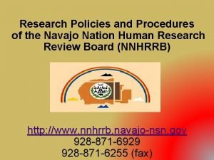 Research Policies and Procedures of the Navajo Nation
