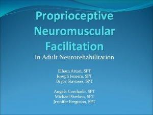 Proprioceptive Neuromuscular Facilitation In Adult Neurorehabilitation Elham Attari