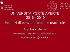 UNIVERSIT PORTE APERTE 2018 2019 Incontri di benvenuto