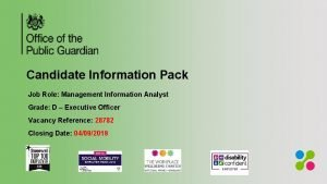 Candidate Information Pack Job Role Management Information Analyst