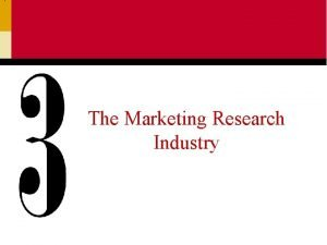 The Marketing Research Industry The Marketing Research Industry