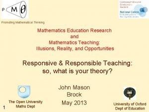 Promoting Mathematical Thinking Mathematics Education Research and Mathematics