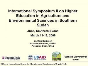 International Symposium II on Higher Education in Agriculture