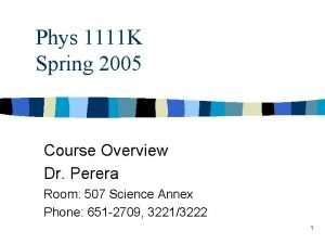 Phys 1111 K Spring 2005 Course Overview Dr
