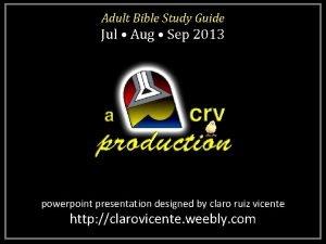 Adult Bible Study Guide Jul Aug Sep 2013