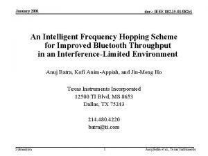 January 2001 doc IEEE 802 15 01082 r