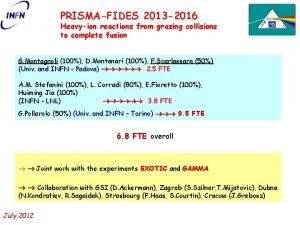 PRISMAFIDES 2013 2016 Heavyion reactions from grazing collisions