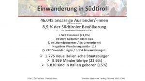 Einwanderung in Sdtirol 46 045 ansssige Auslnderinnen 8