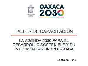 TALLER DE CAPACITACIN LA AGENDA 2030 PARA EL