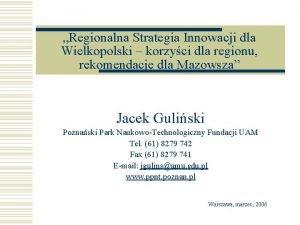Regionalna Strategia Innowacji dla Wielkopolski korzyci dla regionu