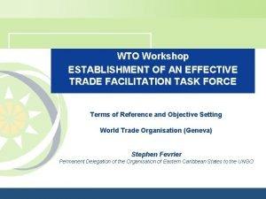 WTO Workshop ESTABLISHMENT OF AN EFFECTIVE TRADE FACILITATION