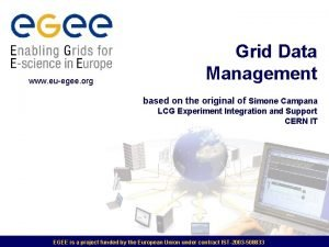 www euegee org Grid Data Management based on