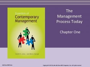 The Management Process Today Chapter One Mc GrawHillIrwin