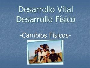 Desarrollo Vital Desarrollo Fsico Cambios Fsicos DESARROLLO FISICO