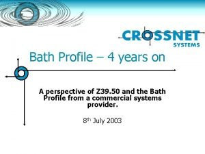 Bath Profile 4 years on A perspective of