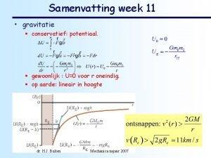 Samenvatting week 11 gravitatie conservatief potentiaal gewoonlijk U0