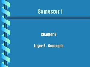Semester 1 Chapter 6 Layer 2 Concepts The