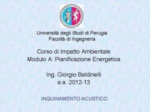 Universit degli Studi di Perugia Facolt di Ingegneria