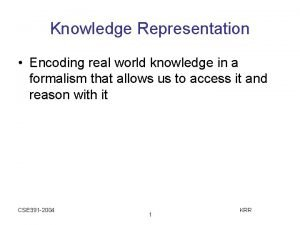 Knowledge Representation Encoding real world knowledge in a