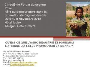 Cinquime Forum du secteur Priv Rle du Secteur