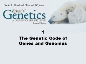 1 The Genetic Code of Genes and Genomes
