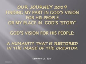 OUR JOURNEY 2019 FINDING MY PART IN GODS