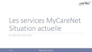 Les services My Care Net Situation actuelle SITUATION