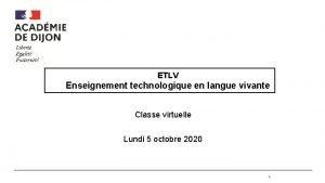 ETLV Enseignement technologique en langue vivante Classe virtuelle