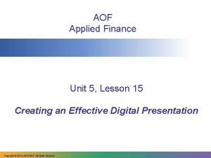 AOF Applied Finance Unit 5 Lesson 15 Creating