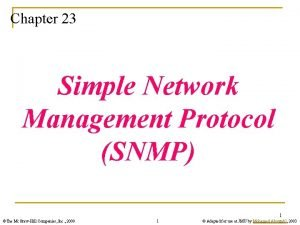 Chapter 23 Simple Network Management Protocol SNMP 1