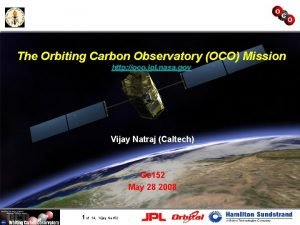 The Orbiting Carbon Observatory OCO Mission http oco