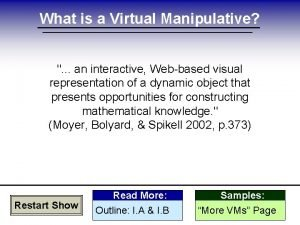 What is a Virtual Manipulative an interactive Webbased