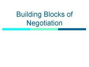 Building Blocks of Negotiation What Is Negotiation p