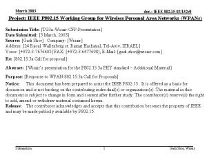 March 2003 doc IEEE 802 15 03152 r