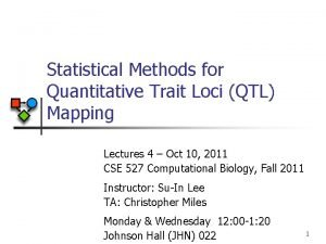 Statistical Methods for Quantitative Trait Loci QTL Mapping