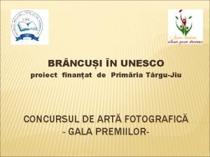 BR NCUI N UNESCO proiect finanat de Primria