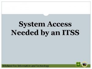 System Access Needed by an ITSS Wildland Fire